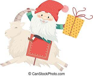 yule, gave, illustration, jul, tomte, goat, mand