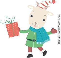 yule, gave, jul, jul, illustration, goat