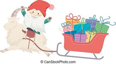 yule, illustration, gaver, tomte, sleigh, goat, mand
