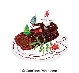 yule journal bord, ou, traditionnel, gâteau, noël, cake.