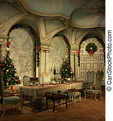 a festively decorated hall on christmas eve