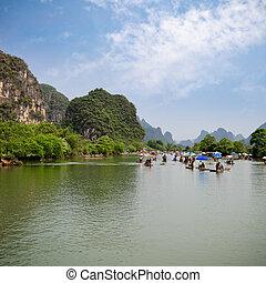 yulong, río, ir balsa