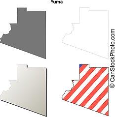 yuma, município, arizona, esboço, mapa, jogo