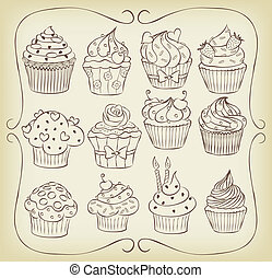 Sketchy yummy cupcakes set with frame.