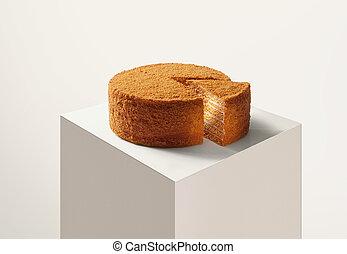 yummy, arriba, espalda, miel, cierre, pastel, fresco, blanco, agradable, vista
