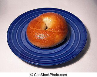 Yummy Bagel - Bagel on a Blue Plate