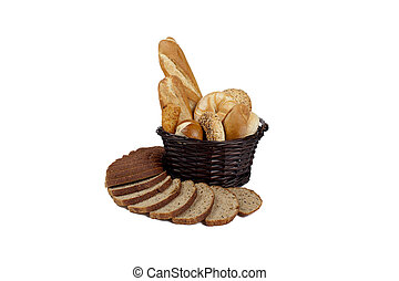 yummy basket and pile of bread