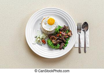 yummy, bianco, copia, messo sottoaceto, piastra, mangiare, snapper, buongustaio, pepe, cena, spazio, uovo, pranzo, gelsomino, piatto, pietanza, cibo, manzo, dolce, fresco, verdura, cottura, asiatico, aspro, tailandese, delizioso, lato, cucina, tailandia, chilli, peperoncino, tradizionale, nutrizione, asia, soleggiato, carne, mescolare, cinese, foglia, riso, carne di maiale, closeup, fritto, salsa, fish, piccante, lattuga, ristorante, mescolare-fritto, strada, pasto, mare, frutti mare
