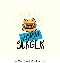 Yummy burger isolated on white background