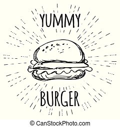 Yummy burger vintage label in hipster style with sunburst.