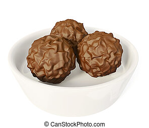 yummy chocolate pralines isolated on a white background.