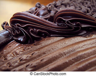 Yummy chocolate torte - Close-up view of tantalizing, ...