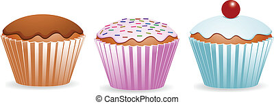 a row of three cup cakes in different colours