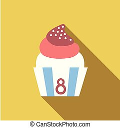 Yummy cupcake for International Women's day with chamomiles flowers. Holiday background, poster or placard template in cartoon style. Vector illustration. Holiday Collection.