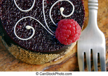 Yummy Cupcake - Cupcake with Rasberry and fork