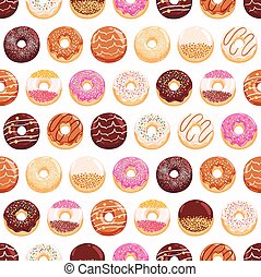 Yummy donuts seamless pattern