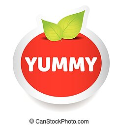 Yummy food label vector