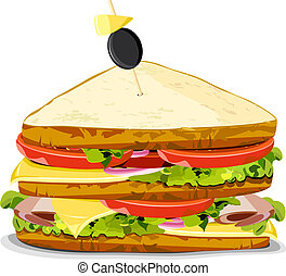 illustration of yummy sandwich on an isolated background