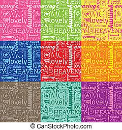 Yummy Seamless Pattern - seamless pattern with typography ...