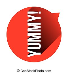 Yummy sign speech bubble red vector