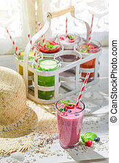 Yummy smoothie with fresh fruits