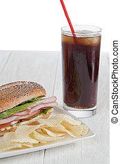 yummy snack - Yummy snack consisting of cola, ham sandwich ...