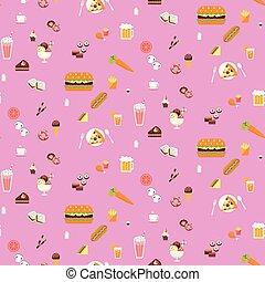 Yummy snacks seamless pattern
