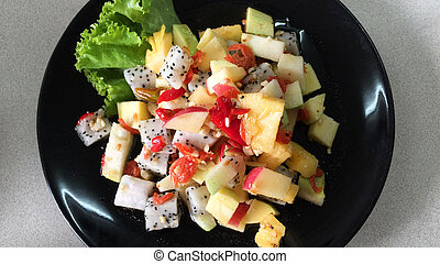 Yummy Spicy Thai Mixed Fruit Salad