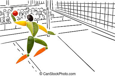 Yummy volleyball. - Fruits and vegetables in the shape of a...