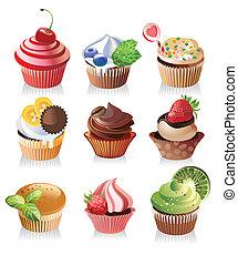 yummy, wektor, cupcakes, zachwycający, ilustracja