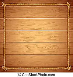 yuor, 框架, wood., 繩子, 矢量, 樣板, 正文