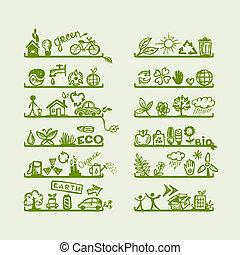 yuor, conception, écologie, étagères, icônes
