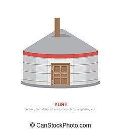 yurt, μικροβιοφορέας , illustration., εικόνα , μογγολικός