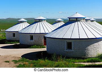 yurt, 牧草地, mongolia