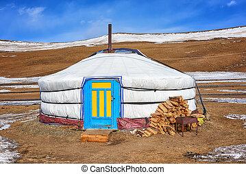 yurt, daheim, nomadic, -, völker