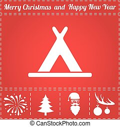 Yurt Icon Vector. And bonus symbol for New Year - Santa Claus, Christmas Tree, Firework, Balls on deer antlers