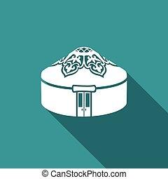 yurt, icon., vector, illustration.