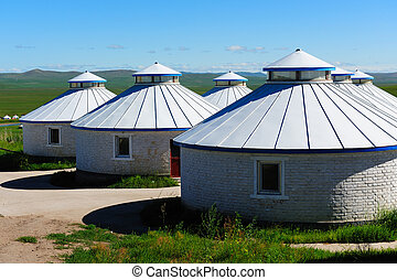 Yurt in Mongolia Grassland - Mongolian yurts in the...
