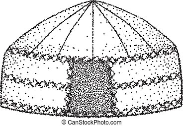 Yurt of nomads. Hand draw. Sketch drawing. Vector Illustration.