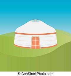 Yurt of nomads - vector graphics, modern flat illustration, ...