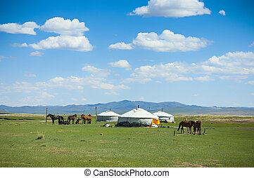 Yurts and horses in the steppe of Mongolia