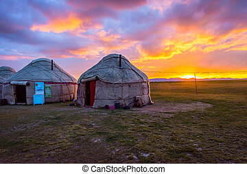 Yurts in sunset, Song Kul, Kyrgyzstan - Yurts and mountains...