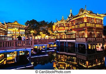 yuyuan, κήπος , νύκτα