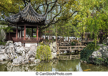 Yuyuan garden shanghai china - detail of the historic Yuyuan...