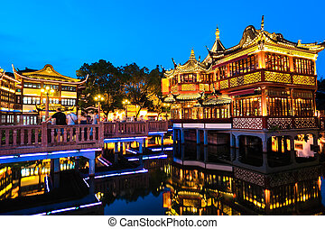 yuyuan, giardino, notte