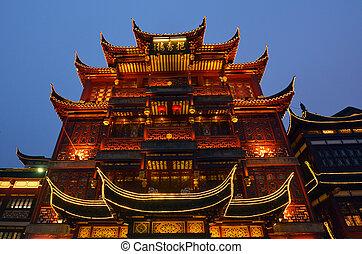 yuyuan, turist, handelsplats, in, shanghai, porslin