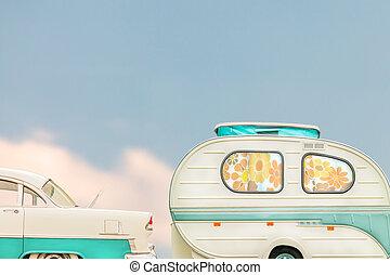 záclony, květ, klasik vagón, seventies, za, karavana