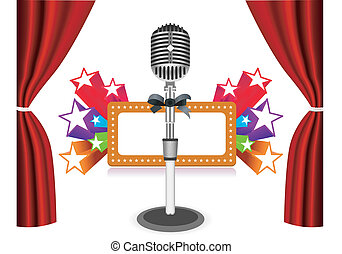záclony, s, mikrofon