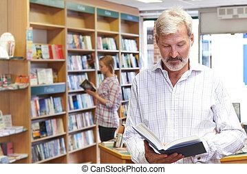 zákazník, letmé prohledávání, zamluvit, do, knihkupectví