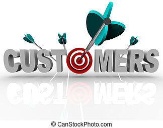 zákazník, -, plán, a, šípi, náraz, ta, vzkaz